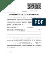 Certificado de Salvoconducto Con Causa
