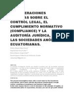 CONSIDERACIONES TEÓRICAS SOBRE EL CONTROL LEGAL
