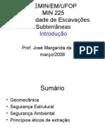 Escavações Subterrâneas - Iintrodução MIN225