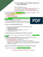 INTERVENÇÃO JUNTO À FAMÍLIA DO PACIENTE COM ALTO RISCO DE MORTE