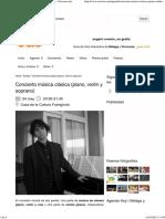 Concierto música clásica (piano, violín y soprano) - Ocioon