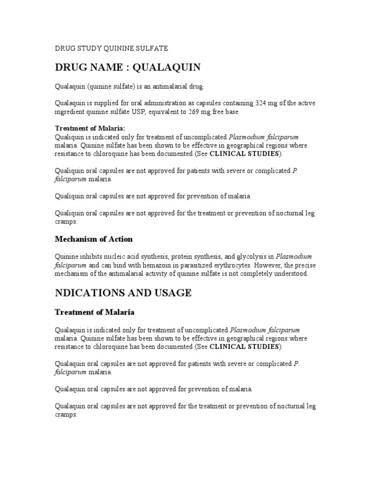 Drug Study Quinine Sulfate | Pharmacology | Medicine