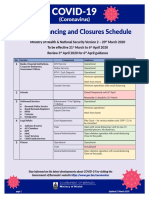 Social Distancing and Closures Schedule 21 3 20