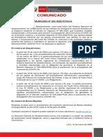 Comunicado del Ministerio de Economía y Finanzas
