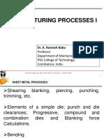 Sheet metal manufacturing process