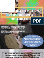 Inequality to persons with disablity