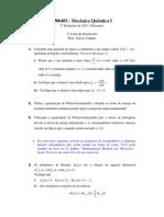 4300403 - Mecânica Quântica I (USP) - Lista de exercicios 1 (2011)