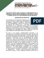 PROYECTO DE LEY QUE AUTORIZA AL PRESIDENTE DE LA REPÚBLICA PARA DICTAR DECRETOS CON RANGO, VALOR Y FUERZA DE LEY EN LAS MATERIAS QUE SE DELEGAN