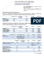 Tabela de Taxas 2020 Prefeitura de Mirassol-SP