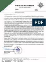 Ceylon Coronavirus Pastoral Letter 2020.03.21
