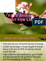 FATS AND OILS TEST FOR LIPIDS