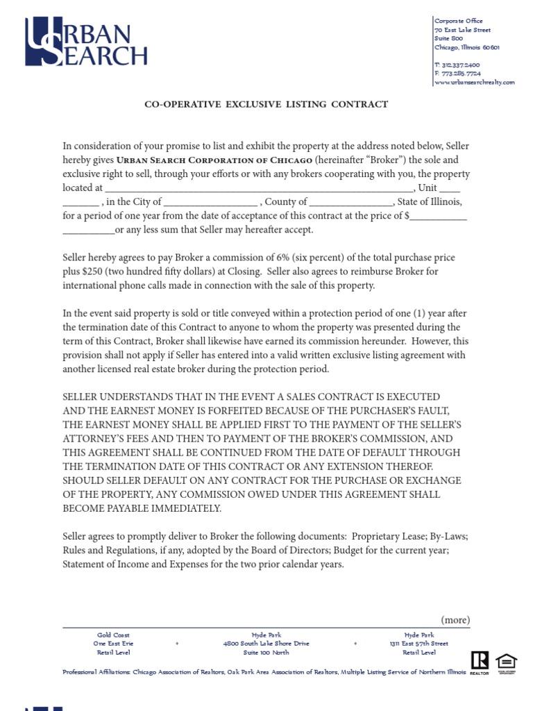 Listing Agreement Coop1210pdf Real Estate Broker Sales