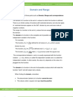 Math Worksheet-Domain and Range