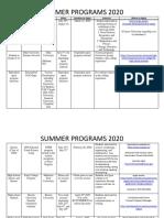 summer programs 2020