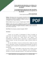 A IMPORTÂNCIA DOS GRUPOS DE PESQUISA NA FORMAÇÃO DOS PROFISSIONAIS DE GEOGRAFIA AGRÁRIA