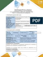 Guía de Actividades y Rúbrica de Evaluación - Paso 5 - Formular La Propuesta de Investigación