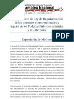 Anteproyecto de Ley de Regularización de los períodos constitucionales y legales de los Poderes Públicos estadales y municipales