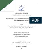 """MANUAL DE PROCEDIMIENTOS ADMINISTRATIVOS PARA EL RESTAURANTE """"EXACTO"""", EN GUAYAQUIL AÑO 2016.pdf"""