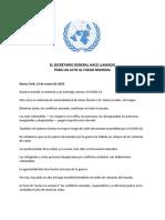 El Secretario General - Llamado Para Un Alto Al Fuego Mundial 23.03.2020