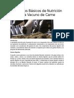 Principios Básicos de Nutrición para Vacuno de Carne