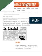 Cambio accionarial en LA LIBERTAD_ Salen Juan March y Joaquín Aznar y el periódico se 'izquierdiza' con Antonio Hermosilla - La Hemeroteca del Buitre