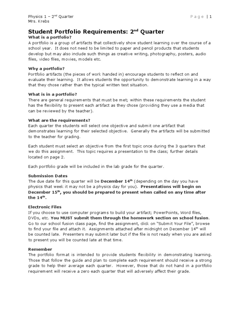 Student Portfolio Requirements - Q2 | Motion (Physics