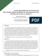Metodología para determinar el potencial de los recursos turísticos naturales en el estado de Oaxaca, México