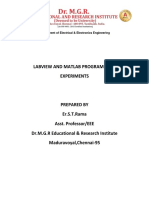 Labview and Matlab Programming Experiments