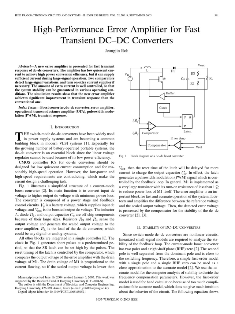 High Performance Error Amplifier For Fast Transient Dc Converters Fig 4 Boost Converter Evaluation Circuit Mosfet Direct Current