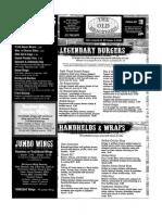 The Old Brickyard Bar and Grill menu