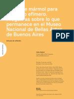 Bases de mármol para un techo efímero-Preguntas sobre lo que permanece en el Museo Nacional de Bellas Artes de Buenos Aires