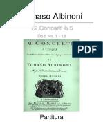 Albinoni 12 concerti a cinque, Op.5