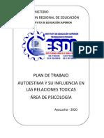 Plan de trabajo TALLER DE AUTOESTIMA 2020