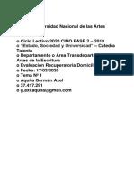 CINO FASE 2 – 2019 – Artes de la Escritura –