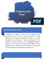 2. Programación Lineal.