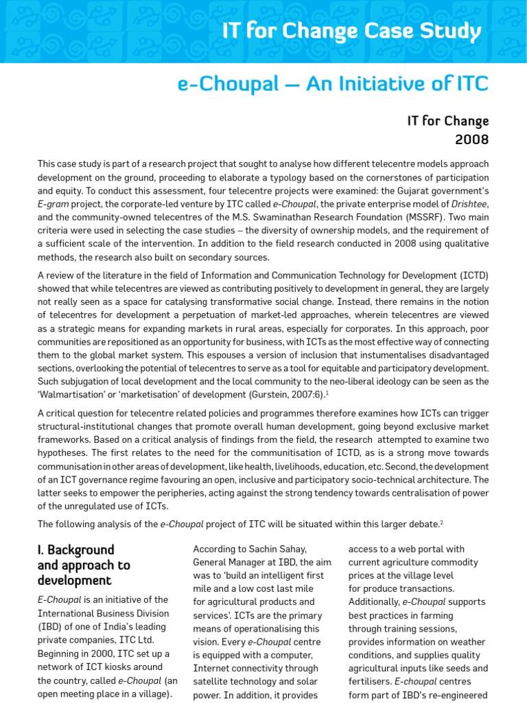 itc e choupal case study analysis