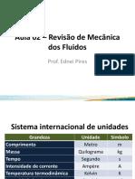 Aula 02 – Revisão de Mecânica dos Fluidos.