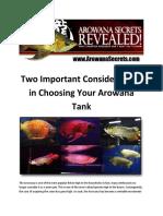 Arowana Care - Two Important Considerations in Choosing Your Arowana Tank