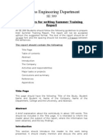 Guidelines for Writing Summer Training Report