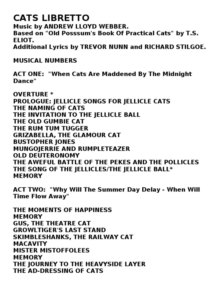 Cats libretto cats adaptations of works stopboris Images