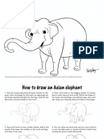 Elephant coloring page and tutorial by Kevin Necessary
