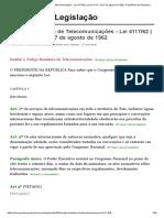 Código Brasileiro de Telecomunicações - Lei 4117_62 _ Lei nº 4.117, de 27 de agosto de 1962, Presidência da Republica