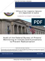 DOJ IG - Audit of the Federal Bureau of Prisons - Monitoring of Inmate Communications to Prevent Radicalization