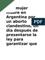 Una mujer muere en Argentina por un aborto clandestino
