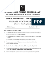 7th Class State Syllabus Scholarship Test Paper