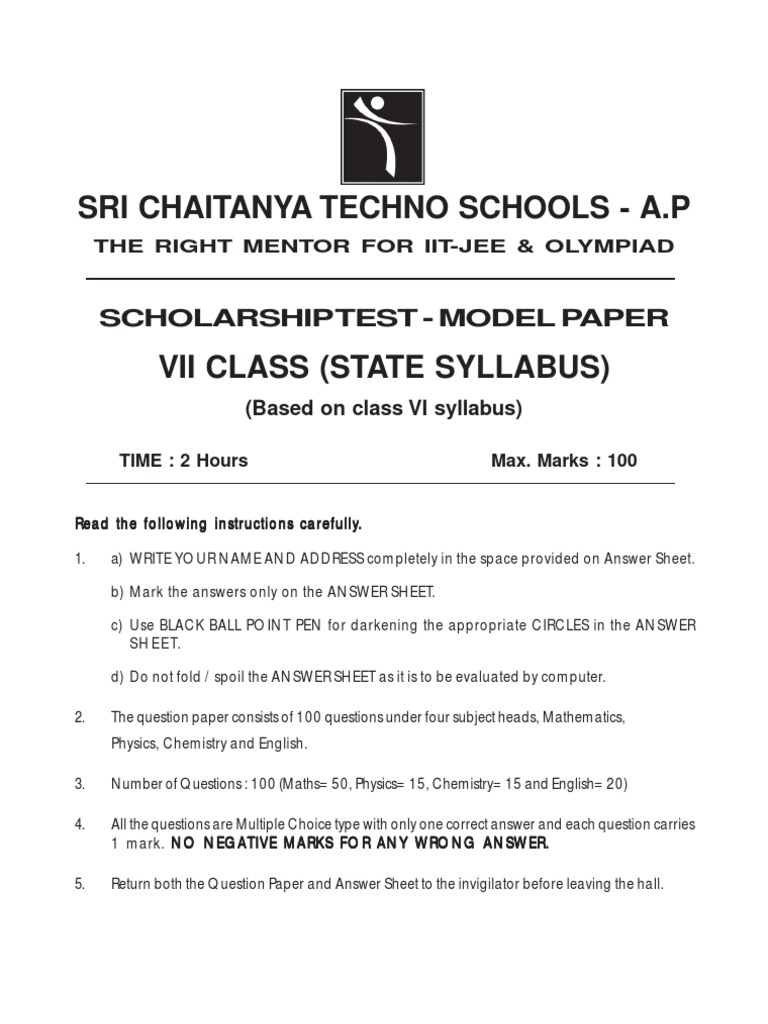 7th Class State Syllabus Scholarship Test Paper | Fahrenheit