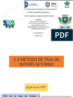 2.3 Método de tasa de interes de retorno TIR 2.3.1