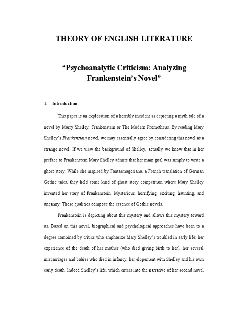 psychoanalytic criticism of frankenstein frankenstein mary shelley