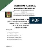 Juan Arroyo, LA IDENTIDAD EN EL PERU  CONFLICTOS INTERCULTURALES EN LOS SERVICIOS DE DOCUMENTACIÓN