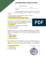 PRUEBA SABER de ciencias sociales GRADO 5  PRIMER PERIODO